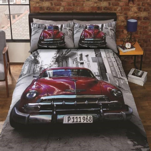 """Santiago"" Classic American Car, Double Duvet,Easy Care""Urban Unique"" by Rapport"